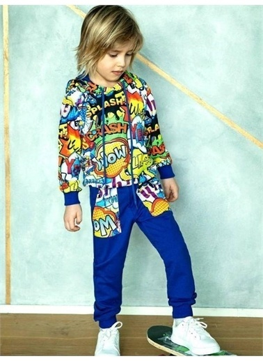 Riccotarz Erkek Çocuk New Models Wow Eşofman Takım Mavi